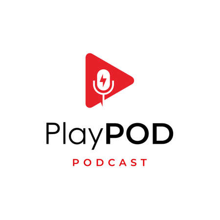 play media with podcast logo design inspiration
