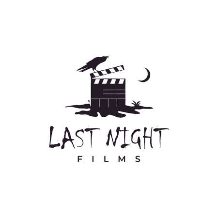Clapperboard on cracked ground at night and crow illustration logo. Horror movie logo design inspiration