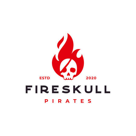 fire flame with pirates skull logo design