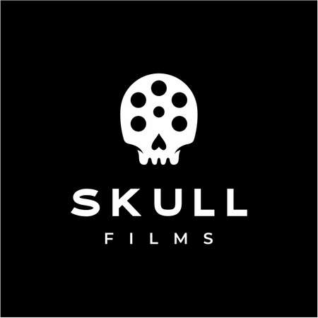Movie slide reel with skull skeleton showing horror movie logo design Illustration