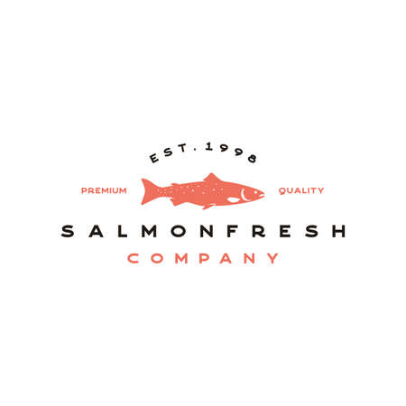 Vintage salmon fish seafood logo design vector Illustration