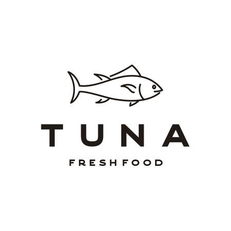 Line art tuna fish logo design vector Illustration