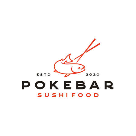 Salmon Poke Bar Logo design inspiration vector