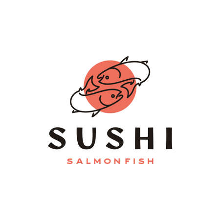 Line Art Salmon, sushi, Poke Bar Logo design inspiration vector Illustration