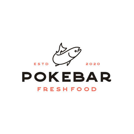 Line Art Salmon Poke Bar Logo design inspiration vector Illustration
