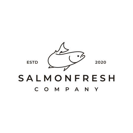 Line Art Salmon Logo design inspiration vector