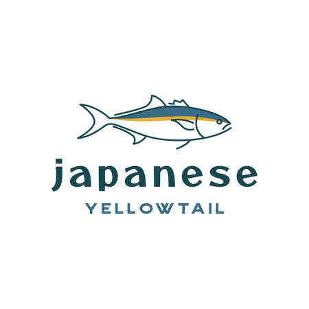 Line art tuna, japanese yellowtail logo design vector
