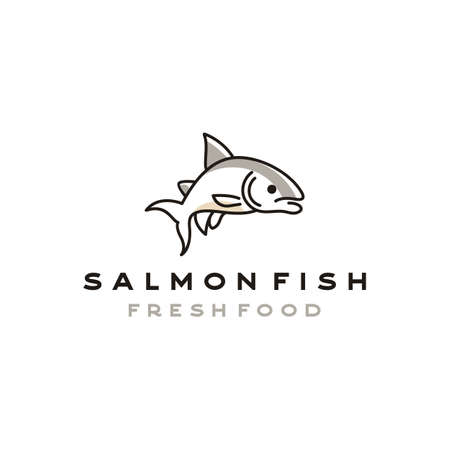 Line art Salmon Poke Bar Logo design inspiration vector