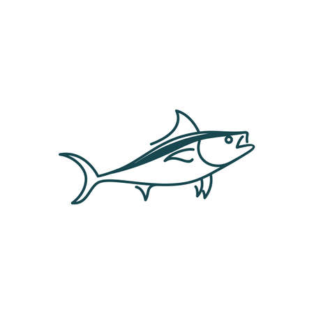 Line art tuna logo design vector
