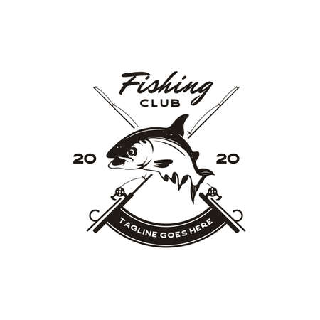 Vintage Angler Fishing Emblem Logo design vector