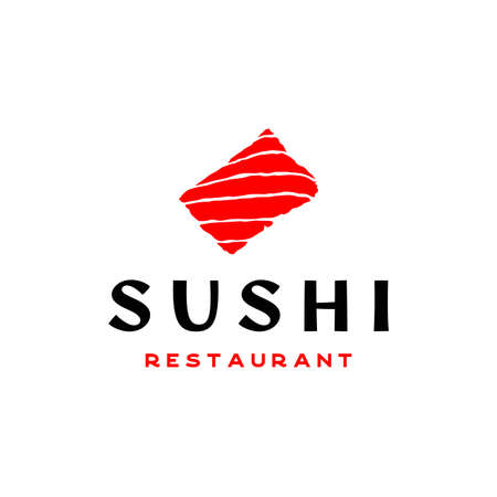 Sushi logo. Japanese traditional cuisine food, asian sushi bar logo design vector Illustration