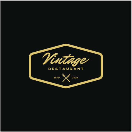 Vintage Retro Restaurant Bar Bistro Logo design vector