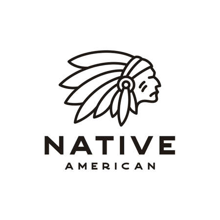 American Native Indian Chief Headdress line art   Design inspiration Illustration