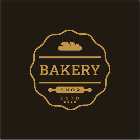 Vintage Retro Bakery, Bake Shop stamp badge Logo design