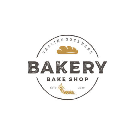 Vintage Retro Bakery, Bake Shop Logo Design Vector Illustration