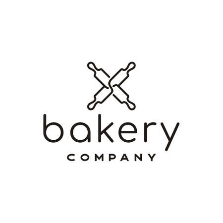 Minimalist line art Rolling Pin for Bakeshop Logo design