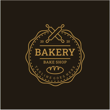 Vintage Retro Bakery, Bake Shop stamp badge Logo design with line art style