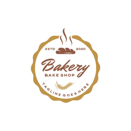 Bakery, Bake Shop Vintage Retro label Sticker Logo design Illustration