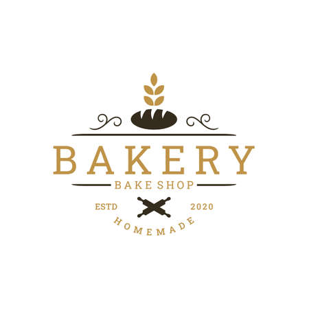 Vintage Retro Bakery, Bake Shop sticker label Logo design