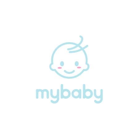 happy baby toddler babies outline vector logo design Illustration