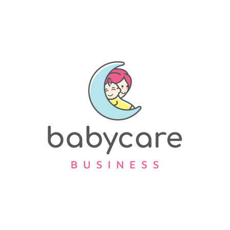 Mom and baby with moon, Motherhood and Childbearing Logo Design
