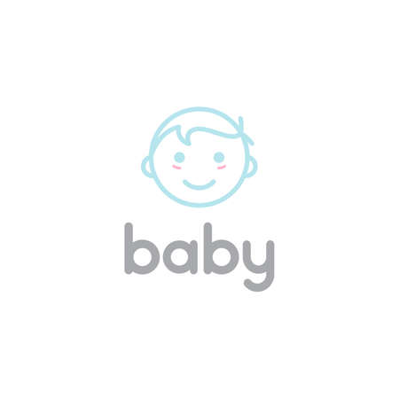 happy baby toddler babies line outline / line art logo design Illustration