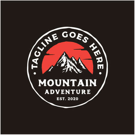 Hand drawn retro vintage hipster Mountain adventure Stamp Label logo design