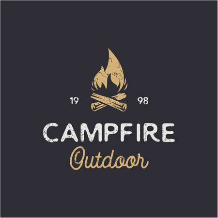 Vintage Burning bonfire with a large flame for camping logo design Illustration