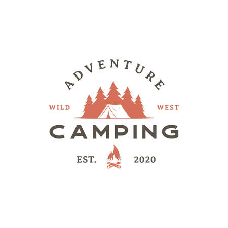 Vintage retro Forest camping logo emblem summer camping vector illustration with tent and pine trees silhouette Stock Illustratie