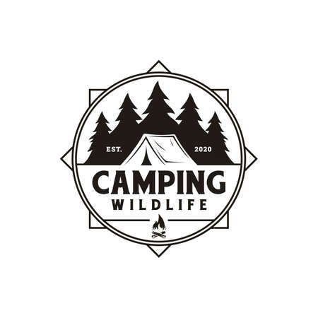 Compass and forest camping logo emblem summer camping vector illustration with tent and pine trees silhouette