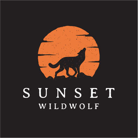 Vintage rustic hipster Howling Wolf Silhouette sunset / sunrise logo design