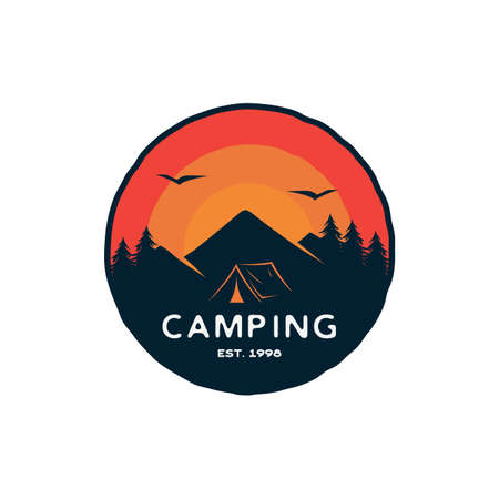 Vintage retro Forest camping logo emblem badge summer camping vector illustration with tent and pine trees