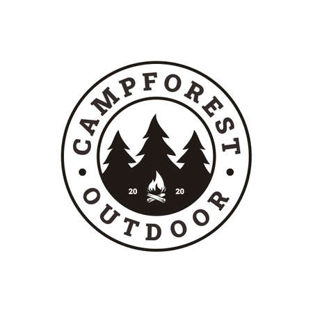 Fir Pines Evergreen tree, bonfire camp outdoor adventure stamp badge logo design