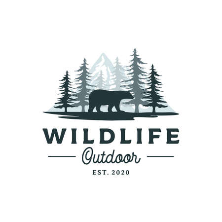 Bear, Mountain and Pine Cedar Conifer Wilderness Adventure Logo Design