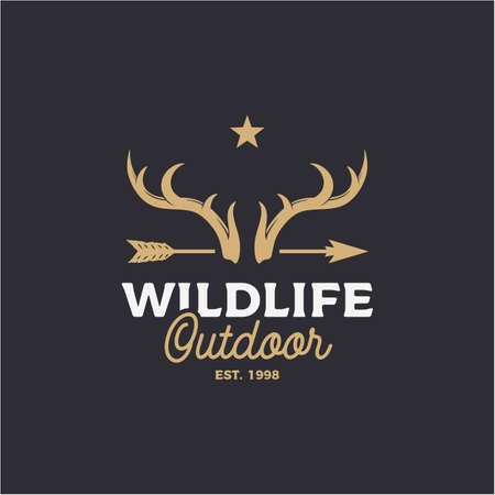 Vintage Deer horn and arrow logo design Illustration