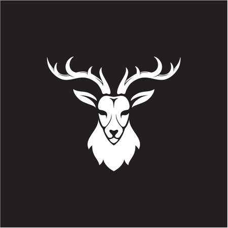 Deer antler head logo design illustration