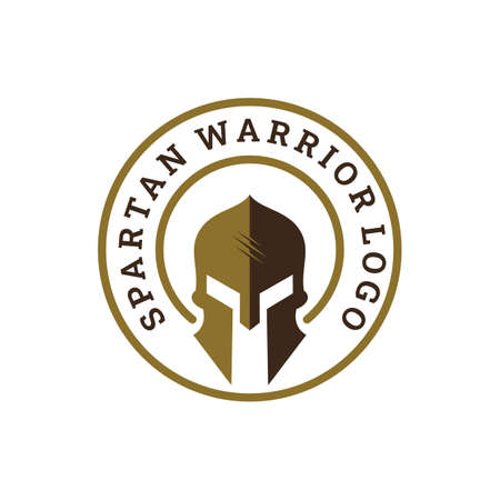 Sparta / Spartan warrior helmet logo, emblem badge stamp Warrior helmet logo design