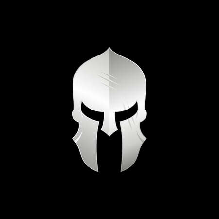 Sparta / Spartan warrior helmet logo, metallic silver Warrior helmet logo design