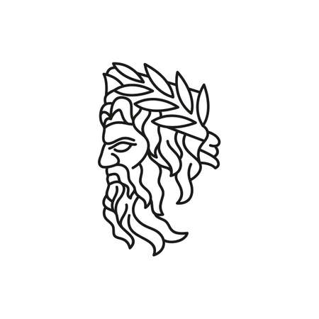 Greek god Zeus Line Art . Ancient Greek God Sculpture Philosopher. Face Zeus Triton Neptune Design