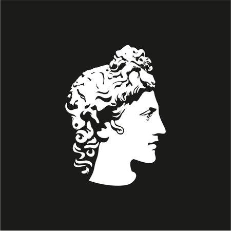 Greek god Apollo . Ancient Greek God Sculpture. Face Apollo Design