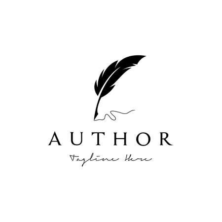 Vintage Feather Pen Handwriting Logo design vector Logos