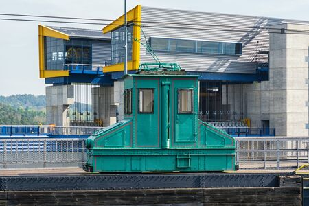 A boat lift on a canal