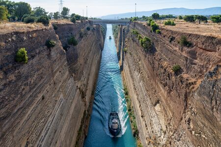 Boats in the Corinth Canal 版權商用圖片