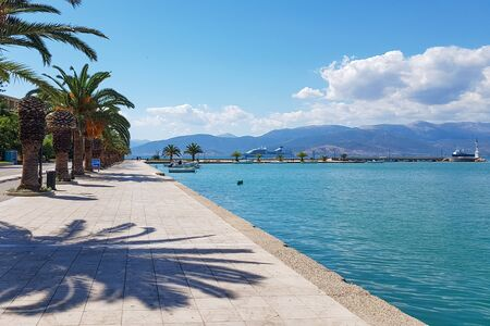 The promenade of the city of Nafplio in Greece