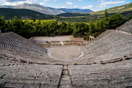 The theater of Epidaurus in Epidaurus 版權商用圖片