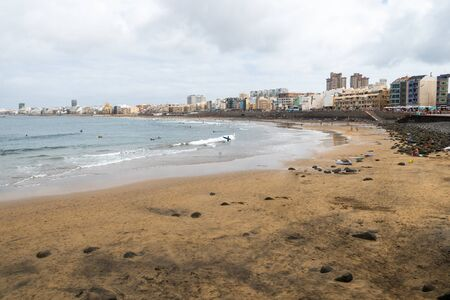 Las Canteras, the beach at Las Palmas de Gran Canaria 版權商用圖片