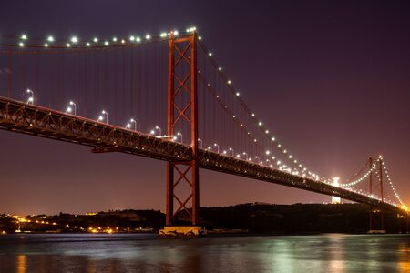 The Ponte 25 de Abril in Lisbon in the evening