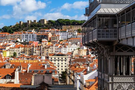 The Elevador de Santa Justa and the old town of Lisbon