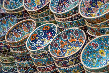 Colorful bowls at an oriental market Stock Photo