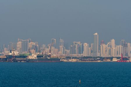 View over the Ocean to the Abu Dhabi skyline